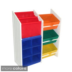 Kids Super Storage with 3 Primary Colored Bins, Book Holder and 6-slot Cubby