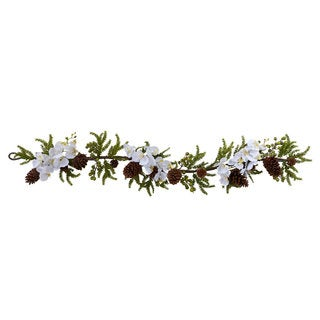 Phalaenopsis Orchid and Pine 60-inch Garland Decorative Plant