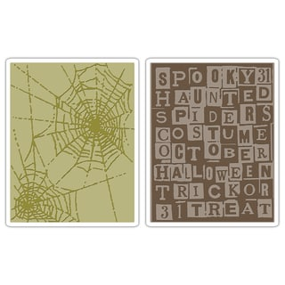 Sizzix Texture Fades Halloween Words/ Cobweb Set Embossing Folders (2 Pack)