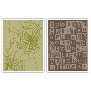 Sizzix Texture Fades Halloween Words/ Cobweb Set Embossing Folders (2 Pack)