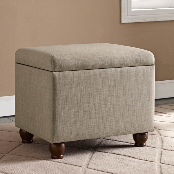 Medium Tan Linen Storage Ottoman