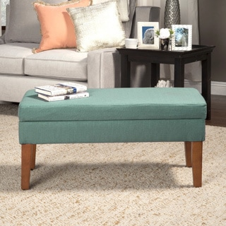 Textured Aqua Storage Bench