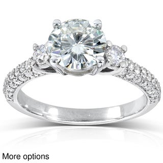 14k Gold Round-cut Moissanite and 1/2 ct TDW Diamond Engagement Ring (G-H, I1-I2)