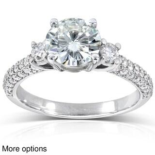 Annello 14k Gold Round-cut Moissanite and 1/2 ct TDW Diamond Engagement Ring (G-H, I1-I2)