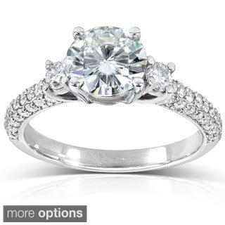 Annello 14k Gold Round-cut Moissanite and 1/2 ct TDW Diamond Engagement Ring (G-H, I1-I2) with Bonus Item