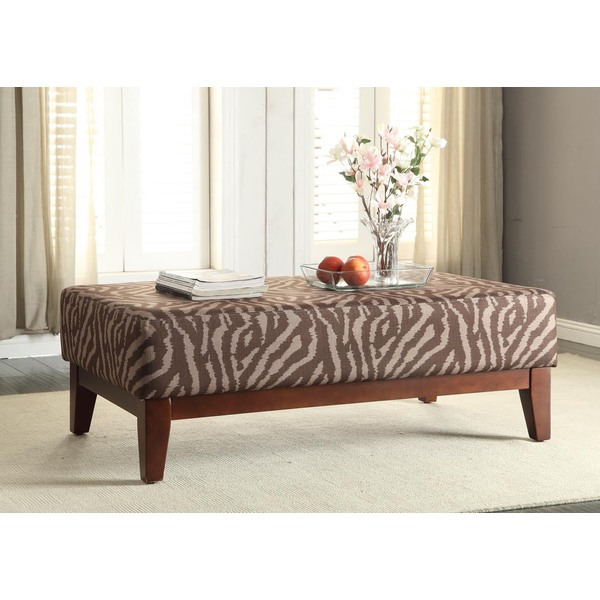 Large Brown Tonal Animal Print Cocktail Bench