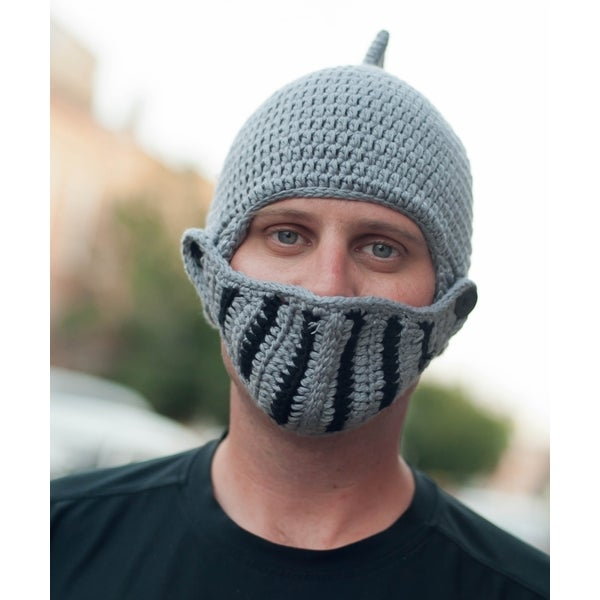 Handmade Knight Helmet Beanie with Removable Visor