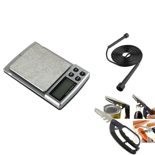 BasAcc Digital Pocket Scale with 5-in-1 Scissors and Jump Rope