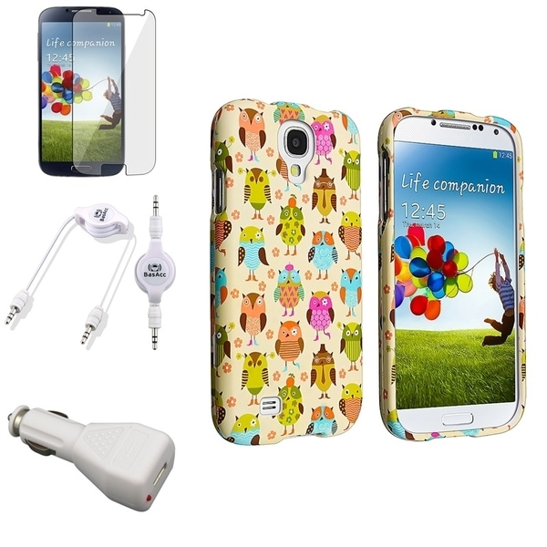 INSTEN Phone Case Cover/ LCD Protector/ Audio Cable/ Charger for Samsung Galaxy S4