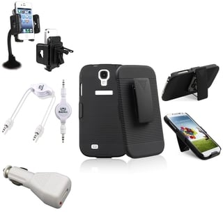 INSTEN Phone Case Cover/ Windshield Mount/ Audio Cable for Samsung Galaxy S4