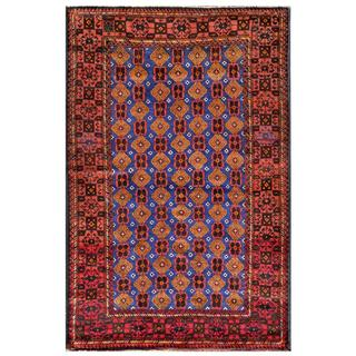 Afghan Hand-knotted Tribal Balouchi Blue/ Red Wool Rug (4' x 6'3)