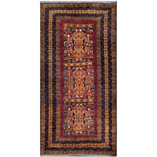 Afghan Hand-knotted Tribal Balouchi Navy/ Gold Wool Rug (3'1 x 6'3)