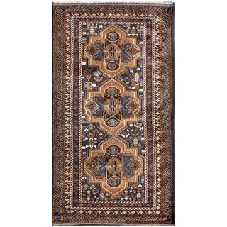 Afghan Hand-knotted Tribal Balouchi Blue/ Light Brown Wool Rug (3'6 x 6'3)