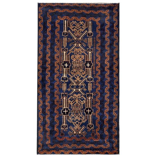 Afghan Hand-knotted Tribal Balouchi Navy/ Black Wool Rug (3'3 x 6'4)