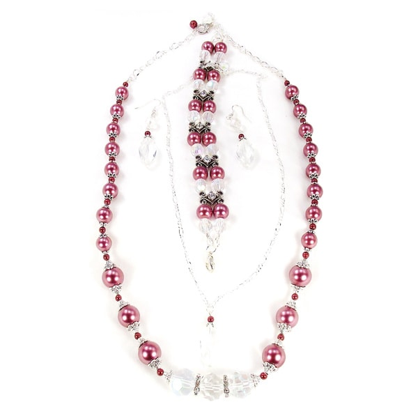 Silverplated Mauve Glass Pearl and Clear AB Crystal Jewelry Set