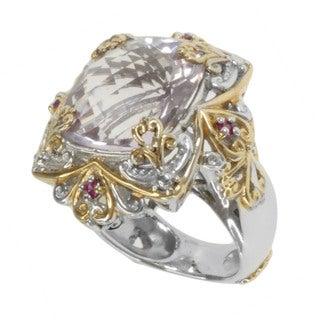 Michael Valitutti Two-tone Pink Amethyst and Pink Sapphire Ring