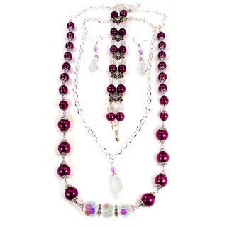 Silverplated Plum Purple Glass Pearl and Clear AB Crystal Jewelry Set