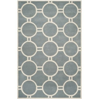 Safavieh Handmade Moroccan Chatham Blue/ Ivory Wool Rug with Durable Backing (8'9 x 12')