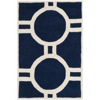 Safavieh Handmade Moroccan Chatham Dark Blue/ Ivory Wool Rug (3' x 5')