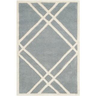 Safavieh Contemporary Handmade Moroccan Chatham Blue/ Ivory Wool Rug (3' x 5')