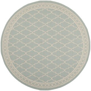 Safavieh Indoor/ Outdoor Courtyard Aqua/ Beige Rug (6'7 Round)