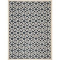 Safavieh Contemporary Indoor/ Outdoor Courtyard Navy/ Beige Rug (6'7 x 9'6)