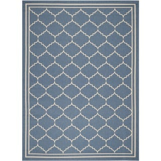 Safavieh Indoor/ Outdoor Polypropylene Courtyard Blue/ Beige Rug (9' x 12')