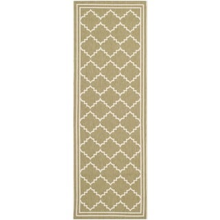 Safavieh Indoor/ Outdoor Courtyard Soft Green/ Beige Rug (2'3 x 6'7)