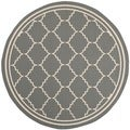 Safavieh Indoor/ Outdoor Courtyard Grey/ Beige Rug (6'7 Round)