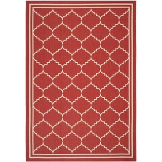 Safavieh Indoor/ Outdoor Courtyard Red/ Beige Rug (5'3 x 7'7)