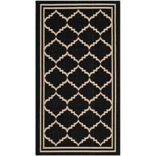 Safavieh Indoor/ Outdoor Courtyard Black/ Cream Rug (2' x 3'7)