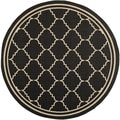 Safavieh Indoor/ Outdoor Courtyard Black/ Cream Rug (6'7 Round)