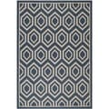 Safavieh Indoor/ Outdoor Courtyard Geometric Pattern Navy/ Beige Rug (4' x 5'7'')