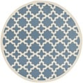 Safavieh Indoor/ Outdoor Courtyard Blue/ Beige Area Rug (5'3 Round)
