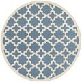 Safavieh Indoor/Outdoor Courtyard Blue/Beige Area Rug (7'10 Round)