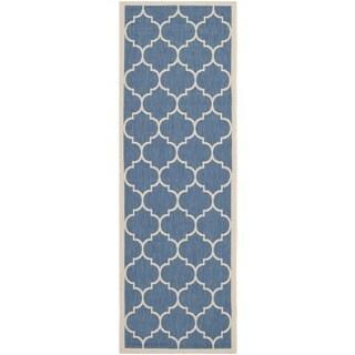 Safavieh Indoor/ Outdoor Courtyard Geometric-pattern Blue/ Beige Rug (2'3'' x 8')