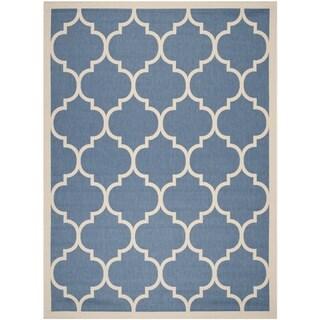 Safavieh Indoor/ Outdoor Courtyard Blue/ Beige Geometric Rug (9' x 12')
