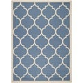 Safavieh Indoor/ Outdoor Courtyard Blue/ Beige Geometric Rug (9' x 12')