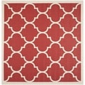 Safavieh Indoor/ Outdoor Courtyard Red/ Bone Area Rug (5'3 Square)