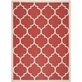Safavieh Indoor/ Outdoor Courtyard Rectangular Red/ Bone Rug (8' x 11')
