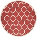 Safavieh Indoor/ Outdoor Courtyard Red/ Bone Area Rug (7'10 Round)