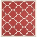 Safavieh Indoor/ Outdoor Courtyard Soft Red/ Bone Rug (7'10 Square)