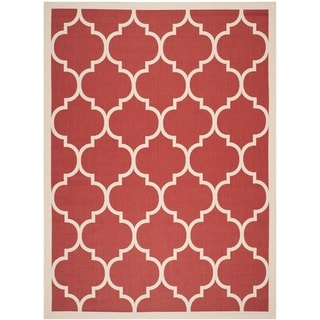 Safavieh Indoor/ Outdoor Courtyard Contemporary Red/ Bone Rug (9' x 12')