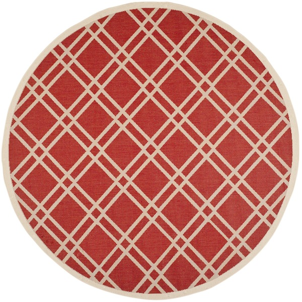 Safavieh Indoor/ Outdoor Courtyard Red/ Bone Rug with .25-inch Pile (7'10 Round)