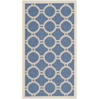 Safavieh Contemporary Indoor/ Outdoor Courtyard Blue/ Beige Rug (2' x 3'7)