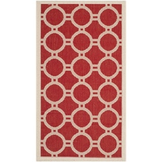 Safavieh Indoor/ Outdoor Courtyard Red/ Bone Geometric-pattern Rug (2' x 3'7)