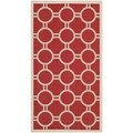 Safavieh Indoor/ Outdoor Courtyard Geometric-pattern Red/ Bone Rug (2'7 x 5')
