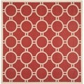 Safavieh Indoor/ Outdoor Courtyard Rectangular Red/ Bone Rug (7'10 Square)
