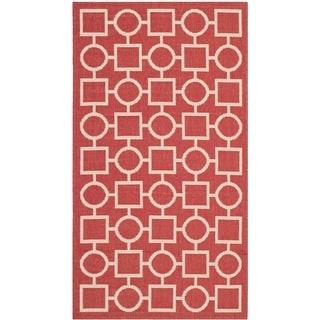 Safavieh Contemporary Indoor/ Outdoor Courtyard Red/ Bone Rug (2'7 x 5')