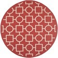 Easy-to-maintain Safavieh Indoor/ Outdoor Courtyard Red/ Bone Rug (7'10 Round)